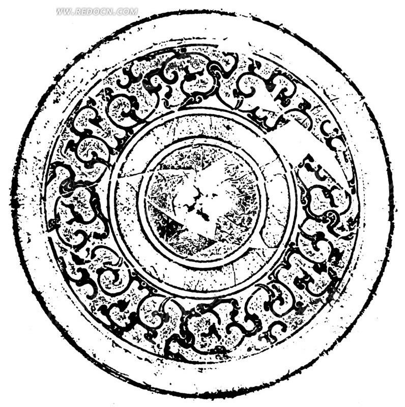 中国古典图案-卷曲纹构成的模糊的圆形图案图片