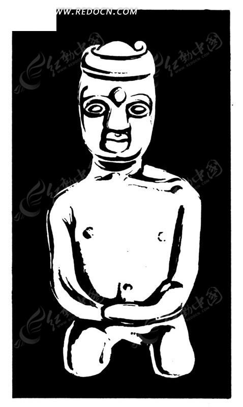 手绘古代跪姿人物插画图形