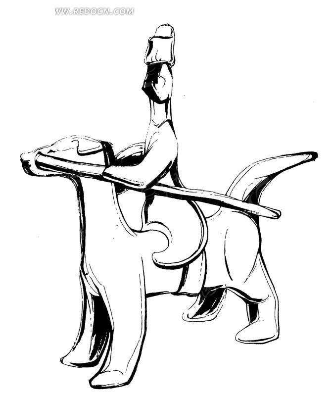 古代骑马人物雕塑图案素材
