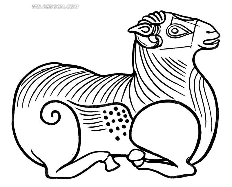中国古代雕刻-趴着的动物ai素材免费下载_红动网