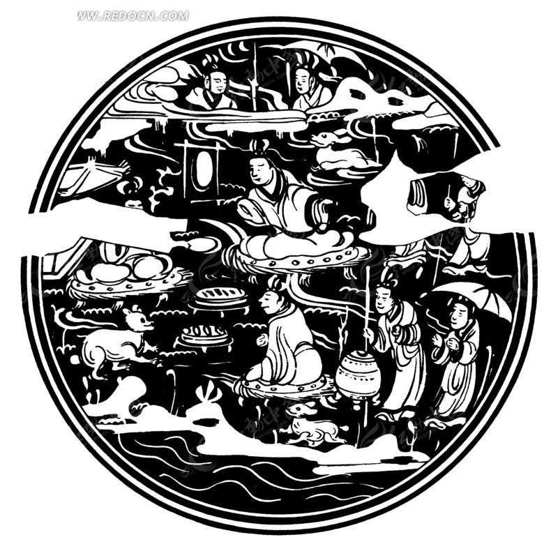 中国古典图案-人物和动物构成的圆形图案