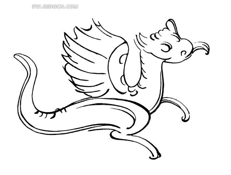 中国古典图案-长翅膀的动物的图案