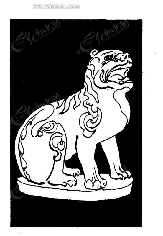 中国古代雕刻-蹲着的张嘴的动物矢量图_传统图案