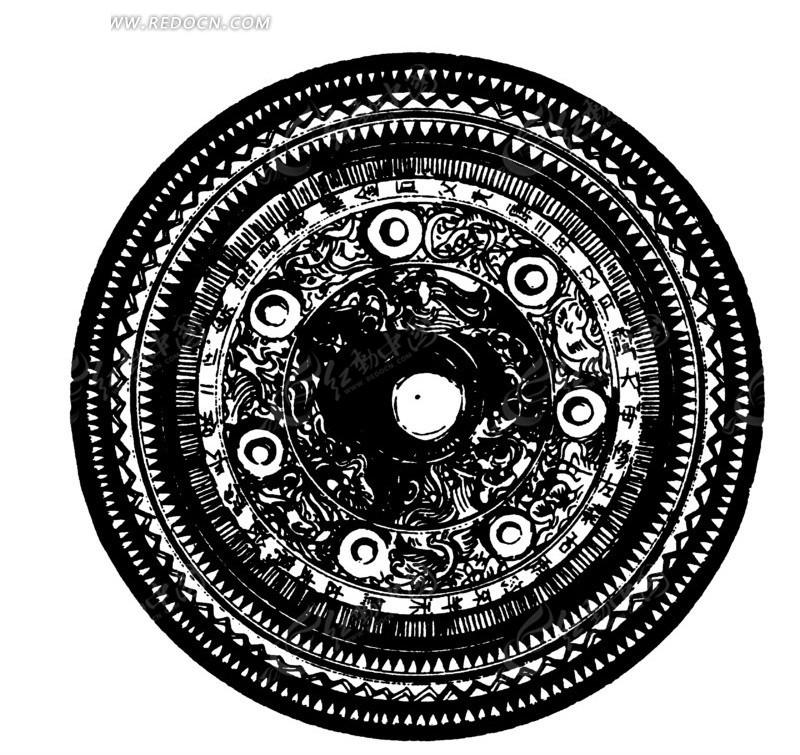 中国古典图案-几何形和折线构成的圆形图案
