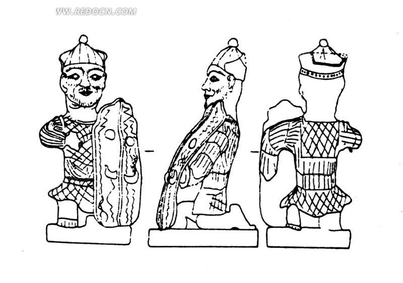 中国古代雕刻-穿着盔甲拿着盾牌的男子的正面侧面背面