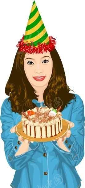 捧着蛋糕的卡通人物