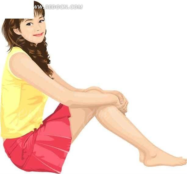手抱着膝盖的卡通人物-美女矢量图|女人矢量图