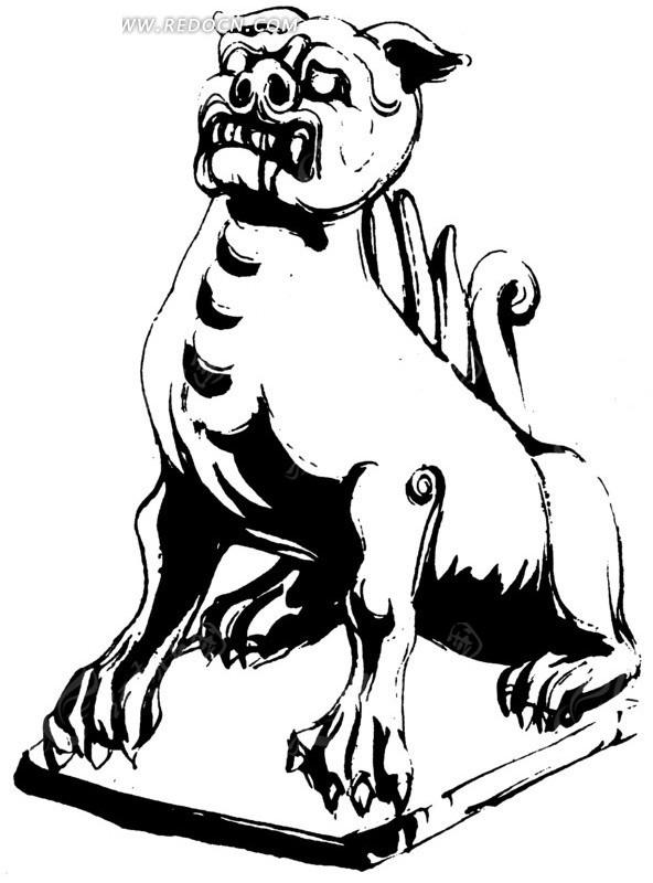 古代动物图形 抽象动物线条 手绘插画 传统图案 矢量素材