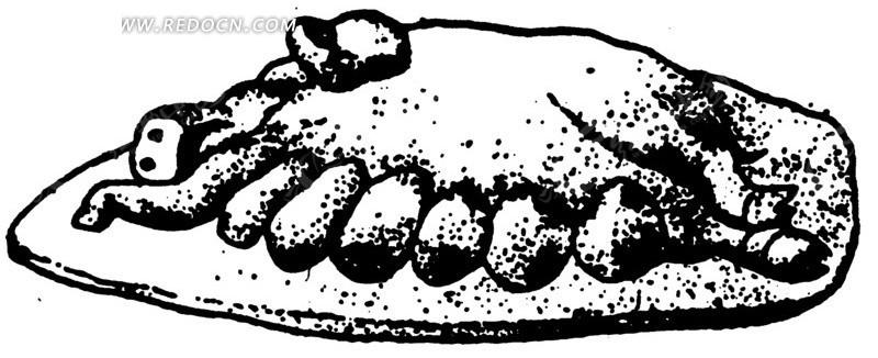 动物 雕刻纹理 黑白 图案  古典 文化 艺术 纹饰 装饰 纹样  ai矢量图