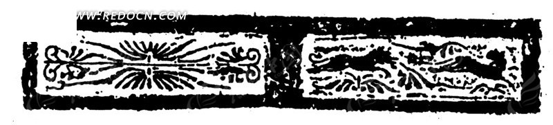 中国古典图案-动物和线条构成的斑驳模糊的图案