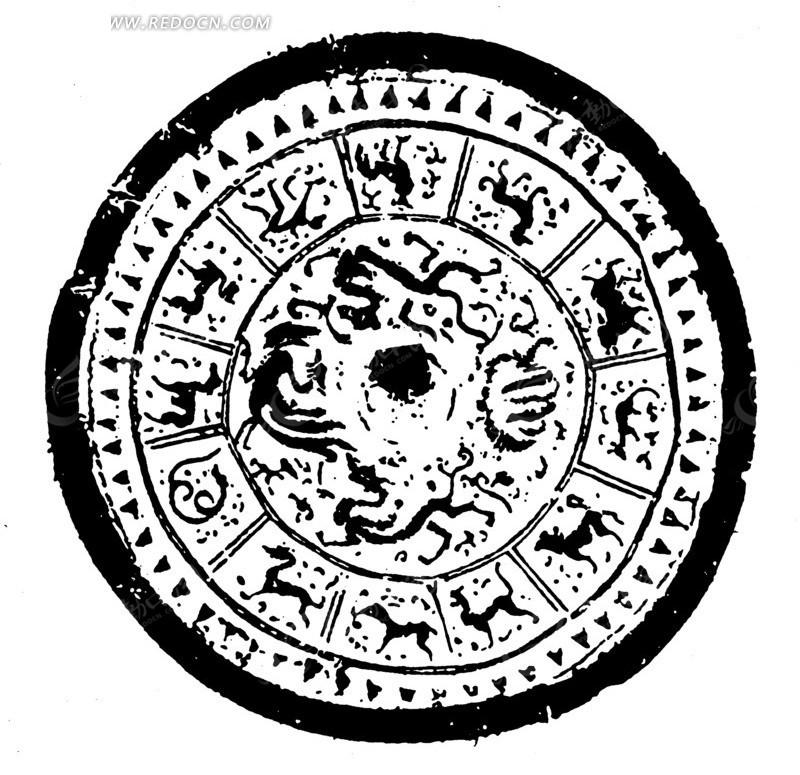 古代四大神兽与十二生肖黑白圆形矢量图案