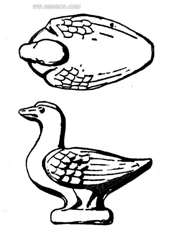 中国古代雕刻-鸭子的侧面和俯视ai素材免费下载_红动网