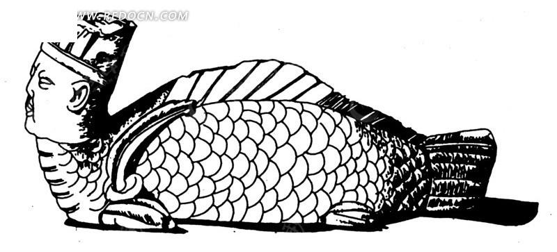 免费素材 矢量素材 艺术文化 传统图案 中国古代器物-人头的鱼构成的
