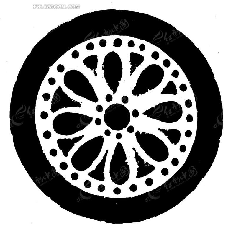 中国古典图案-花朵形构成的斑驳的黑白的圆形图案