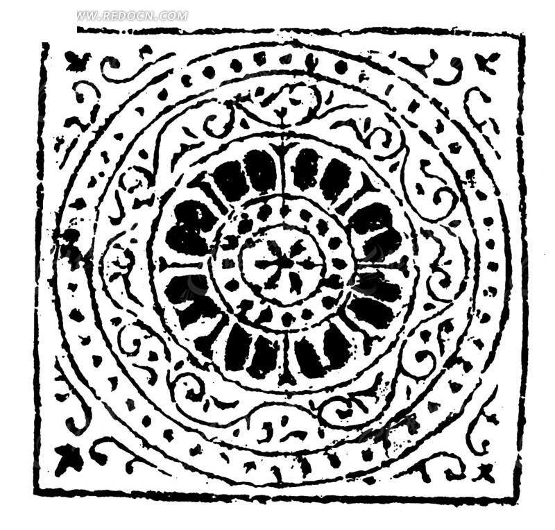 古代黑白动物纹边框纹样矢量素材