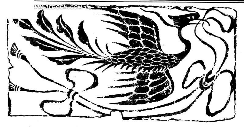 手绘凤凰衔着吊穗黑白矢量图案