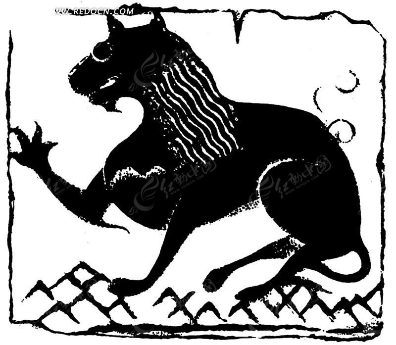 手绘卧着的凶狠伸爪的狼黑白矢量图案