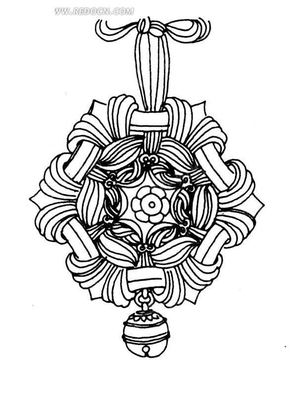 中国古典图案-花朵和铃铛以及中国结构成的图案