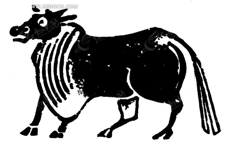 中国古典图案-有毛边的牛ai素材免费下载_红动网图片