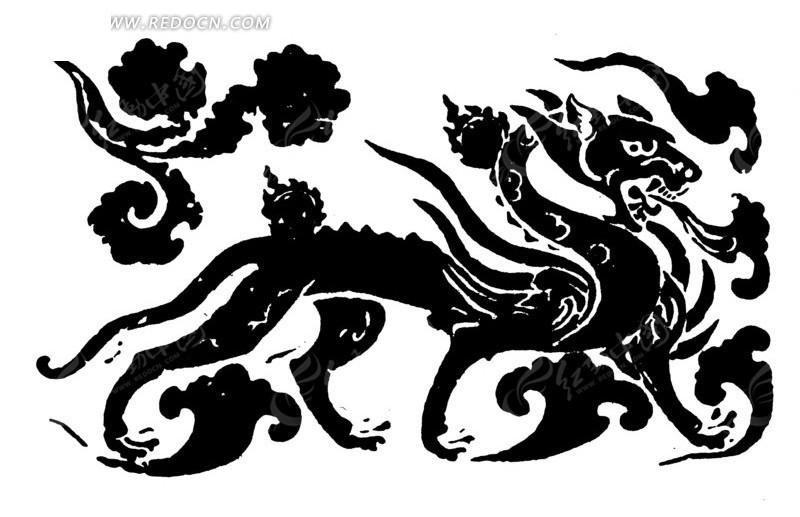 中国传统龙纹素材矢量图