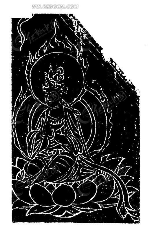 中国古代壁画-坐在莲花台双手合掌的菩萨