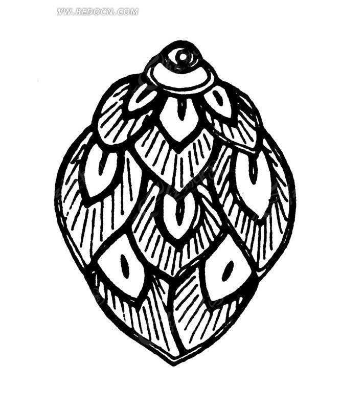 线描 树叶 叶子 矢量 插画 传统图案 矢量素材