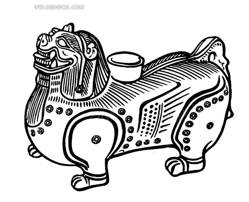 免费素材 矢量素材 艺术文化 传统图案 中国古代器物-长獠牙的四只脚
