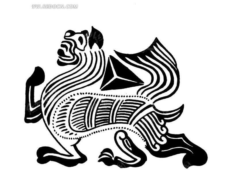 中国古典图案-抬起前脚的仰头的动物