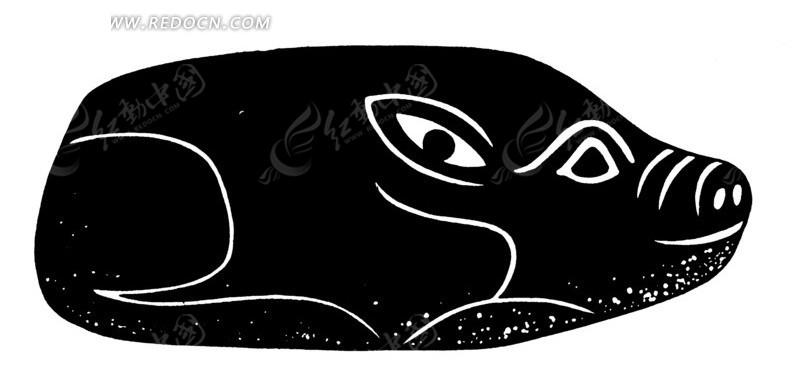 猪 动物 剪影 黑白 线描图 矢量动物 传统图案 矢量素材图片