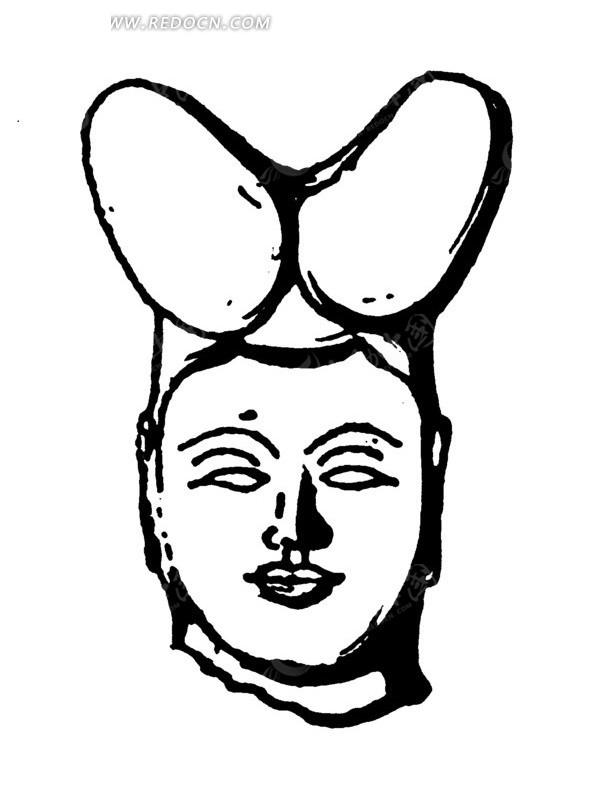 中国古代雕刻-女子头像的正面矢量图