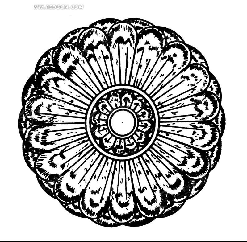 中国古典图案-花朵形构成的黑白的圆形图案