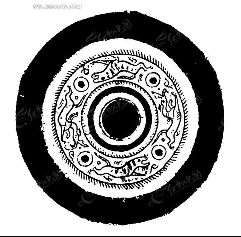 中国古典图案-动物和圆形构成的斑驳模糊的圆形图案