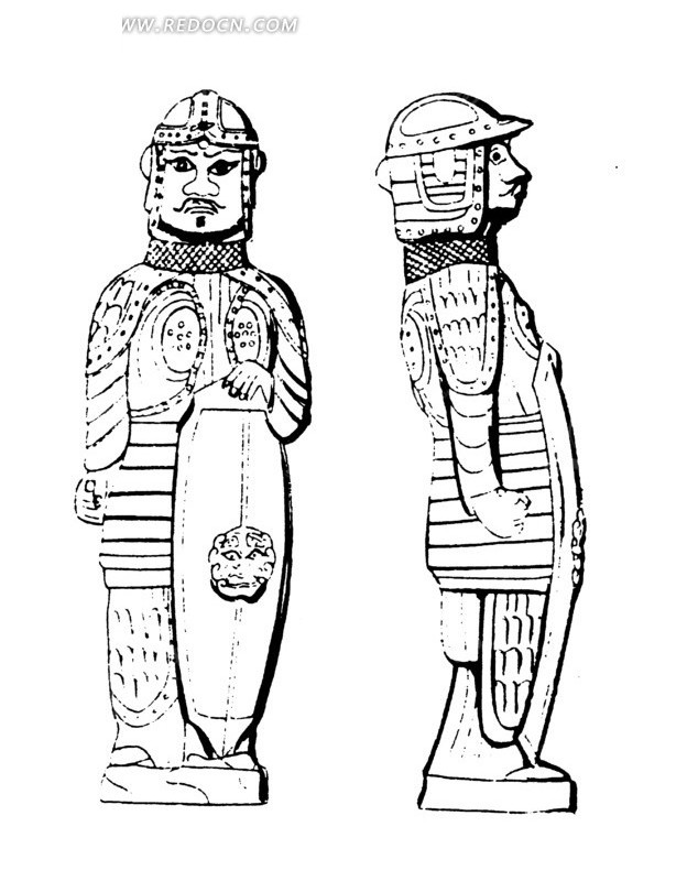 手绘全身盔甲的古代武士图片
