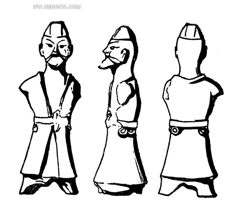 中国古代雕刻-没有胳膊的人物的正面侧面背面