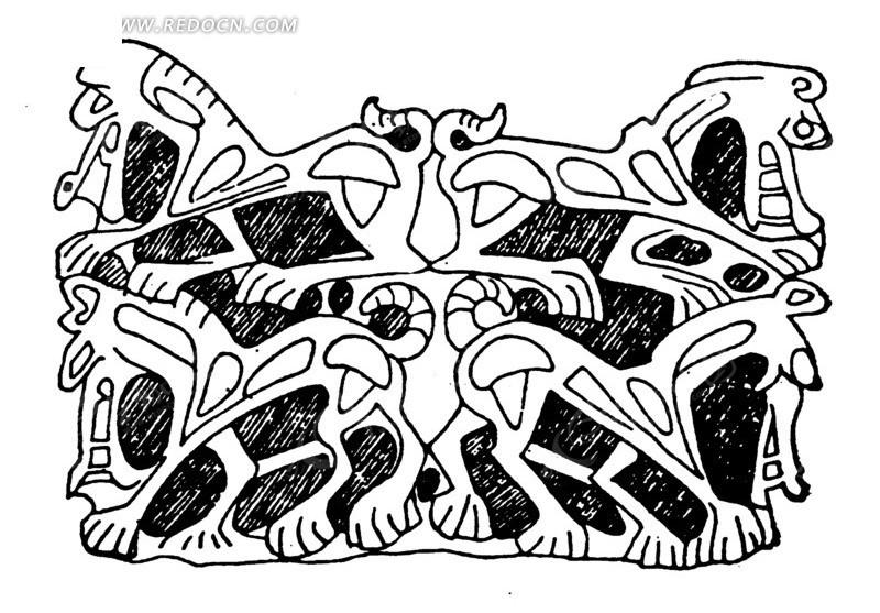 关键词:四兽纹对称手绘线条线描图黑白; 量图(编号:1509589)_传统