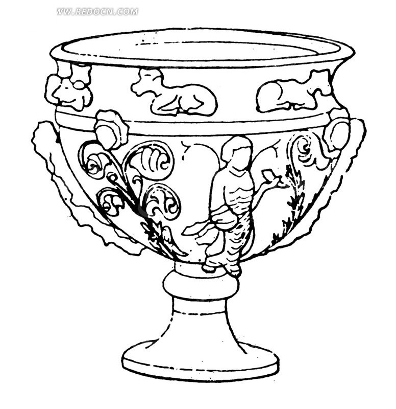 古代文物图案素材 黑白图案 黑色线条 古老 人物浮雕 花纹陶罐 工艺