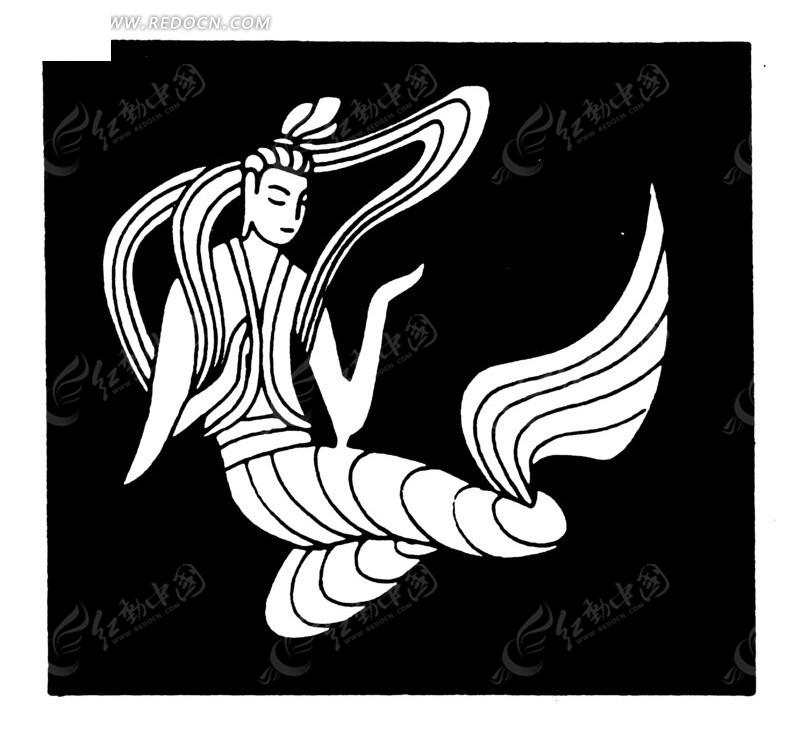 中国古典图案-美丽漂亮的嫦娥矢量图_传统图案