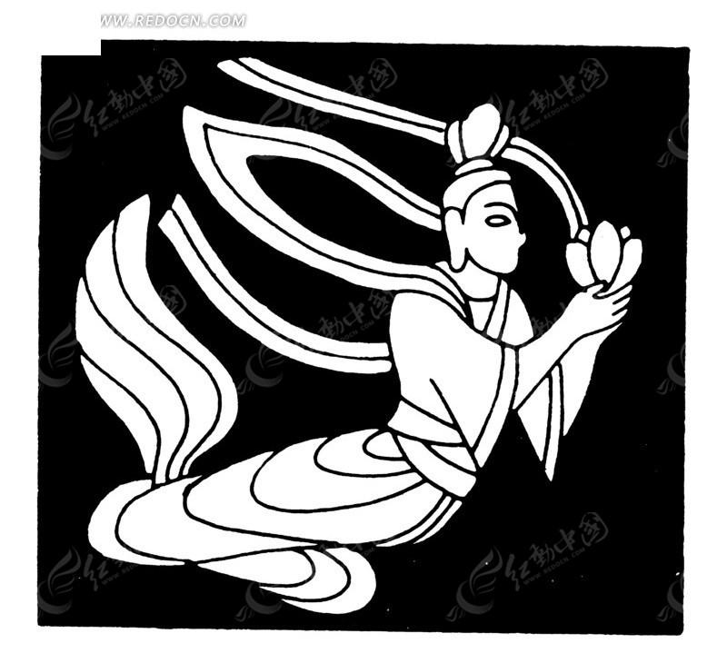 中国古典图案-双手托莲花的嫦娥