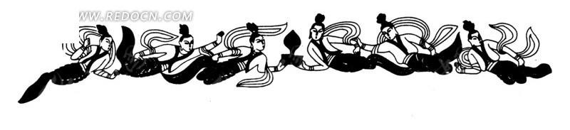 中国古典图案-一群飞舞的嫦娥矢量图_传统图案