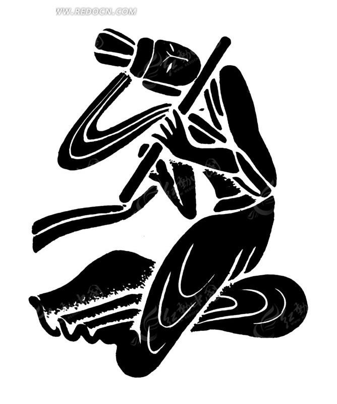 手绘跪坐着吹笛子的女乐师黑白矢量图案