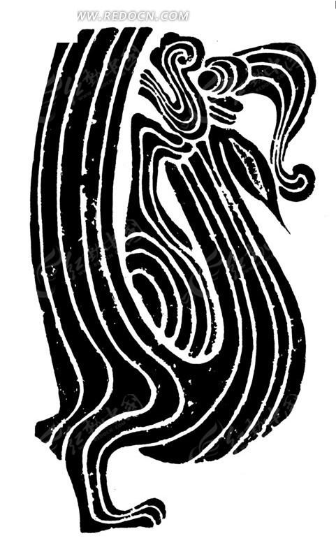 手绘独脚站立回首的龙黑白矢量图案