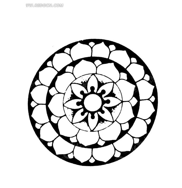 中国古典图案-花朵形构成的圆形古典图案
