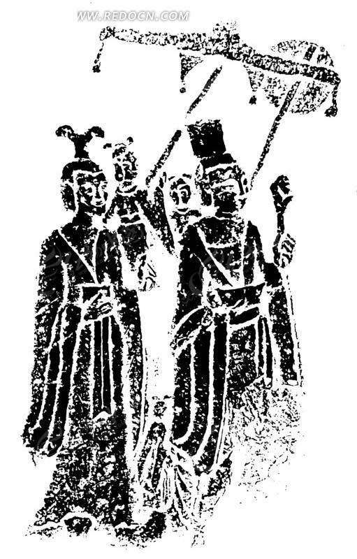 中国古典图案-公主出游矢量图_传统图案