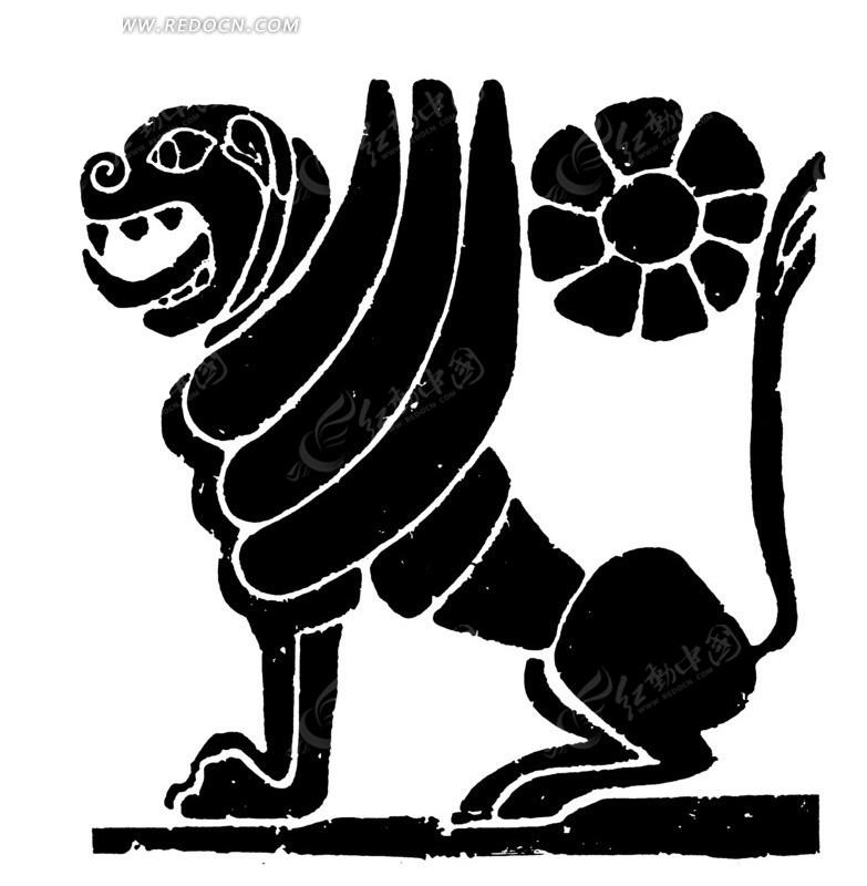 手绘 上古神兽 白虎  翅膀 黑白图案 ai矢量素材  传统图案 矢量素材