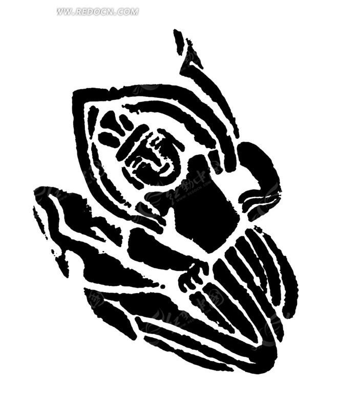 手绘舞神黑白矢量图案