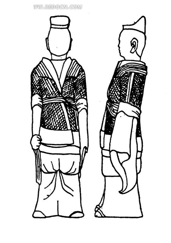 中国古代雕刻-人物的正面和侧面