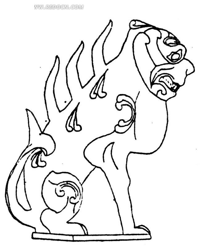 矢量抽象动物线条图形