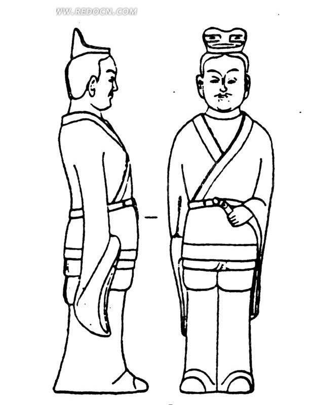 中国古代雕刻-左手放在腰带上的男子的正面和侧面