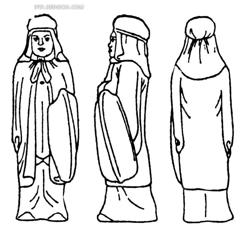 矢量古代人物线条图形组合