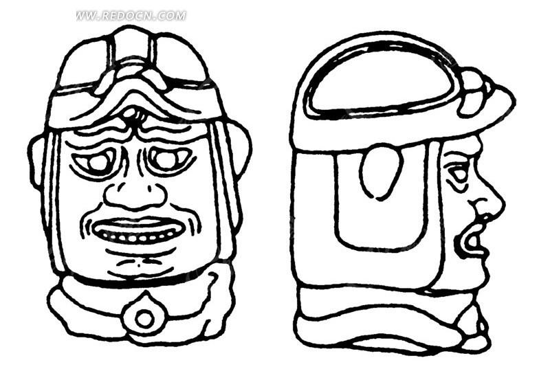 中国古代雕刻-戴头盔的男子头像的正面和侧面